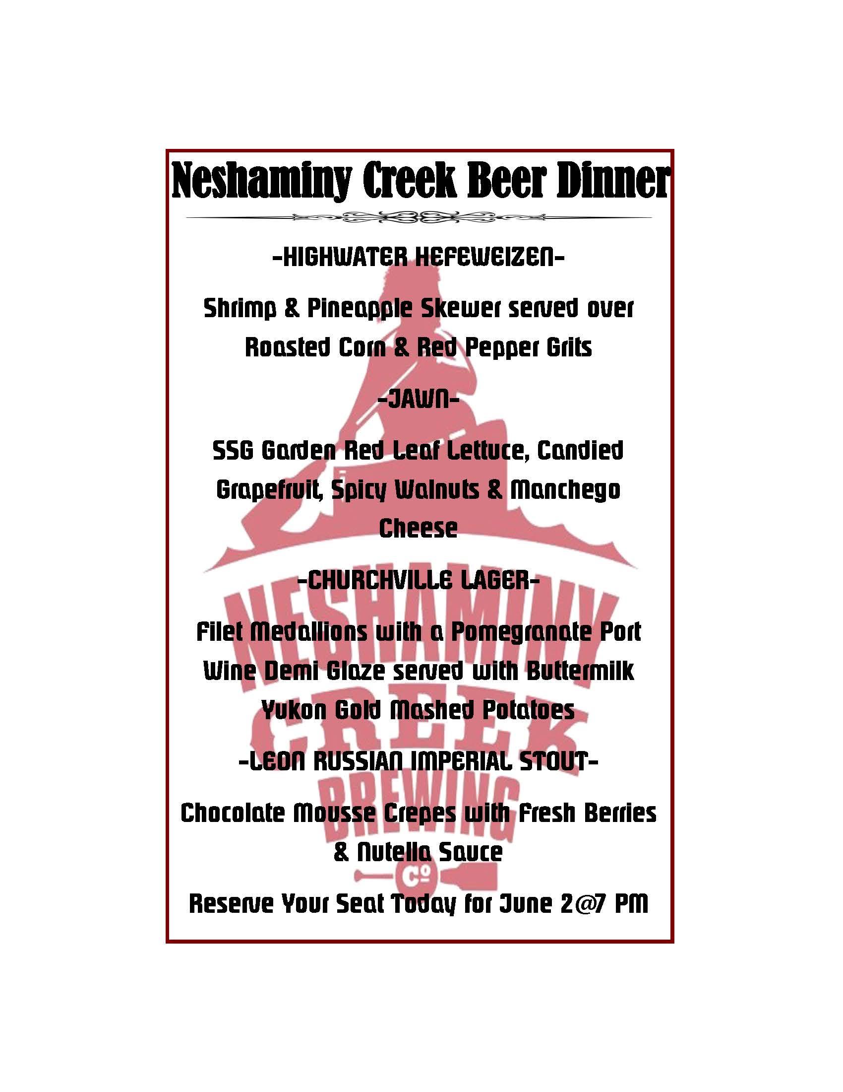 neshaminy creek dinner menu