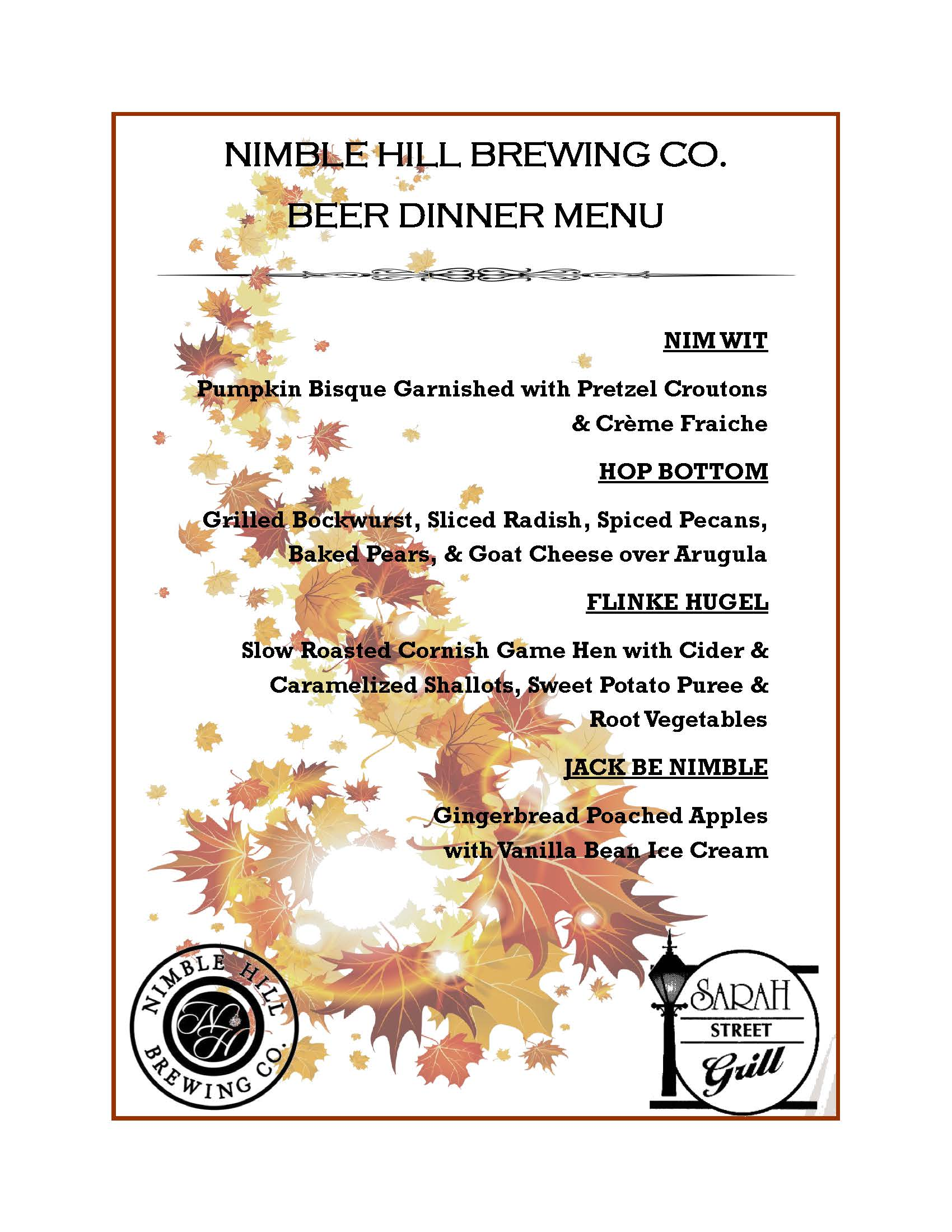 nimble hill beer dinner menu pdf