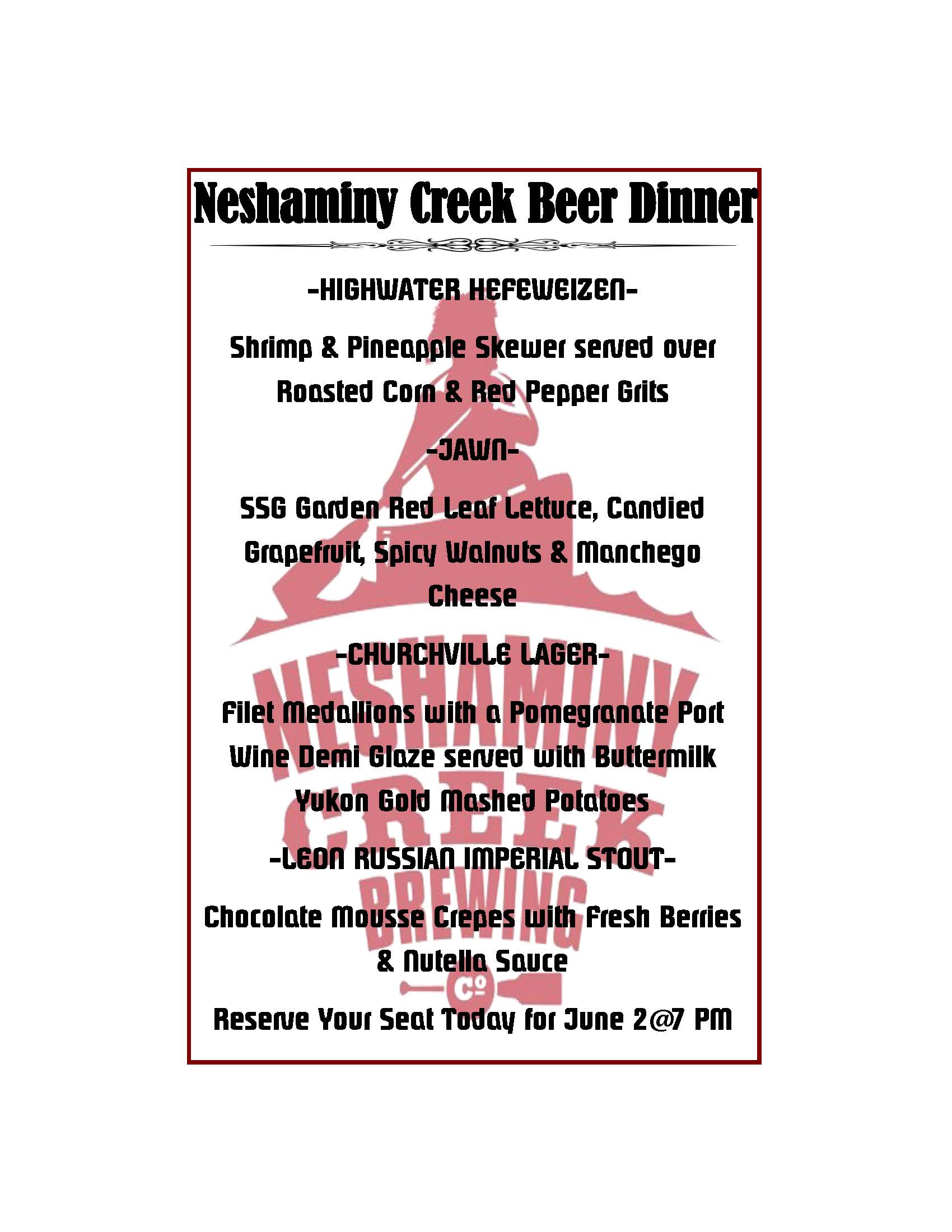 neshaminy creek dinner menu
